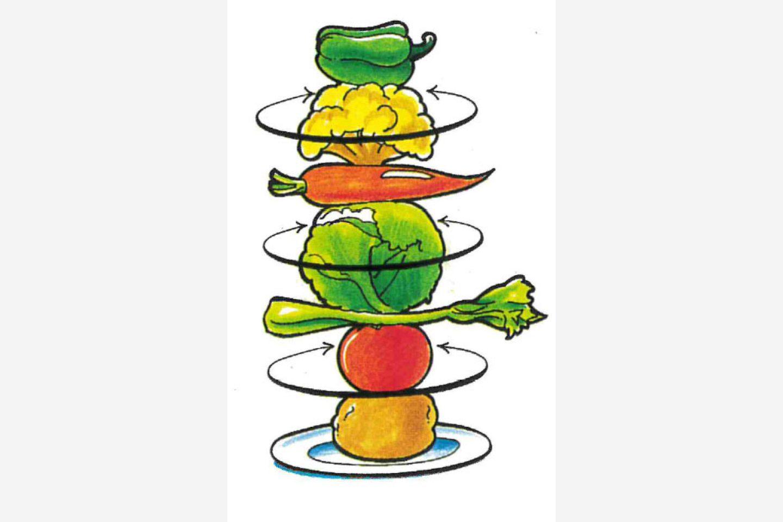 Иллюстрация с набором овощей