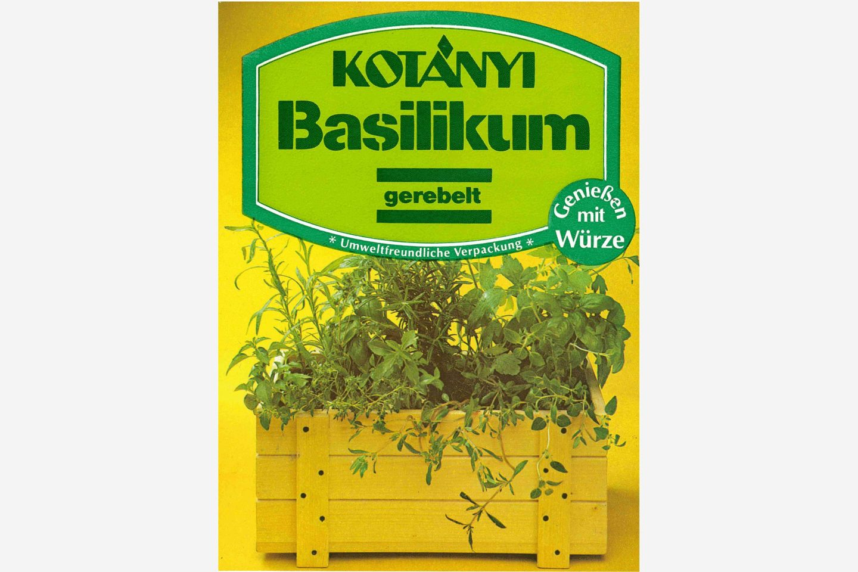 Экологичный пакетик с базиликом Kotányi, 1980-е годы.