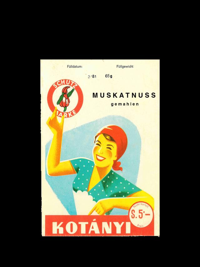 Пакетик мускатного ореха Kotányi, 1950-е годы.